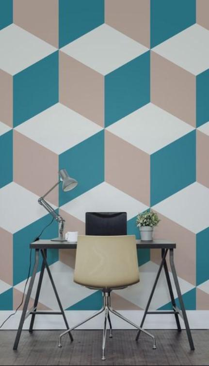 Wallpaper Dinding Desain geometris