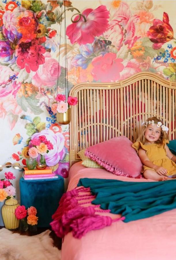 Wallpaper Dinding Desain bunga