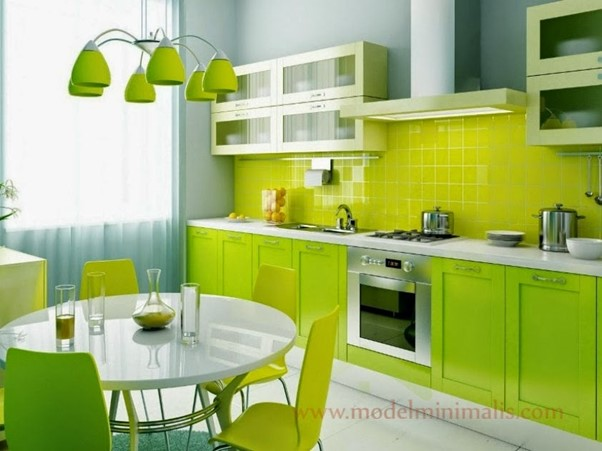 Desain Dapur Minimalis Menyatu dengan Ruang Makan Hijau