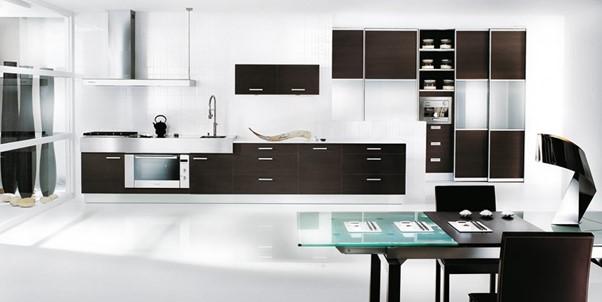Desain Dapur Minimalis Menyatu dengan Ruang Makan Modern Hitam Putih