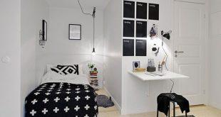 Inspairasi Desain Kamar Tidur Mungil Bernuansa Minimalis Hitam Putih